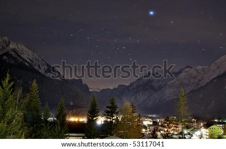 mountain at night - stock photo