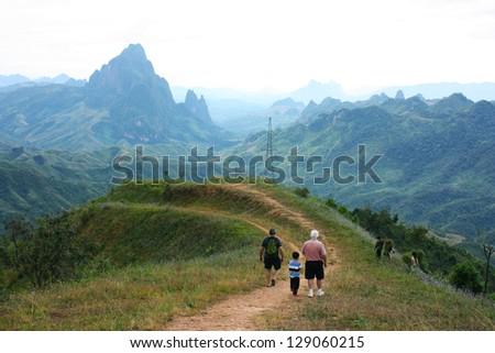 Mountain at Vang Vieng - stock photo