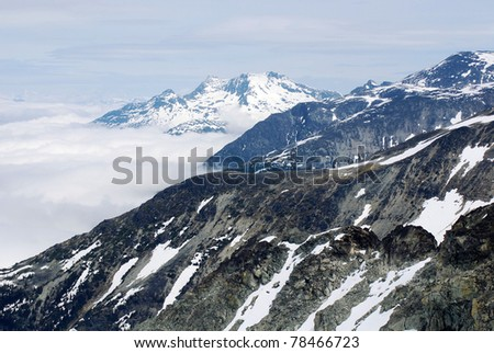 Mountain at  Whistler-Blackcomb is a Canadian resort town in the southern Pacific Ranges of the Coast Mountains in the province of primarily for alpine skiing and mountain biking. - stock photo