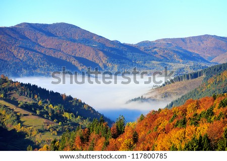 Mountain autumn landscape with colorful forest - stock photo