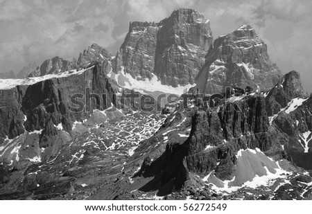Mountain B&W - stock photo
