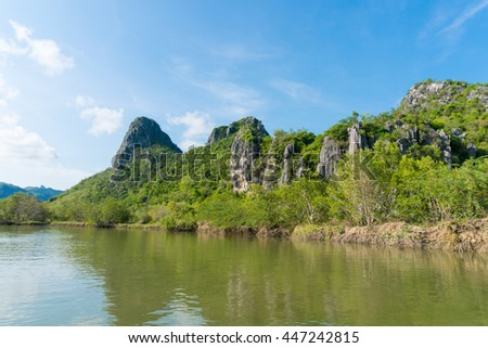 Mountain behind river with blue sky background