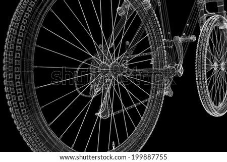 Mountain Bicycle 3D model, body structure , wire model