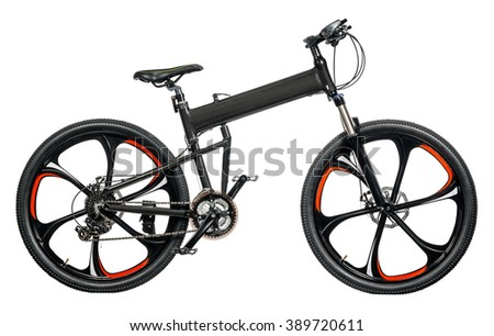 Mountain bicycle on white background - stock photo