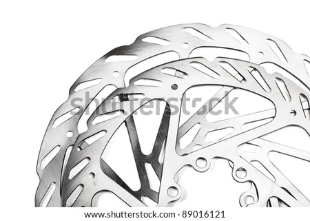 Mountain bike disk rotors on white background - stock photo