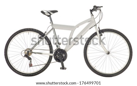 mountain bike isolated on white background, lateral view  - stock photo