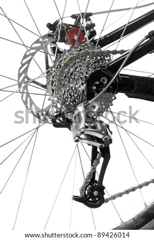 Mountain bike rear wheel detail on white background - stock photo