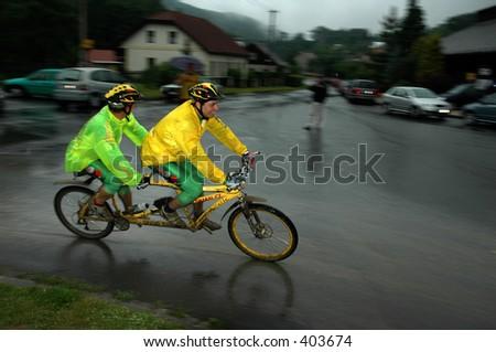 mountain bike tandem - stock photo