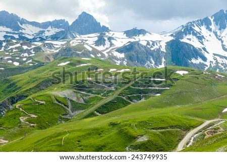 Mountain bike trails in the resort of Tignes in the summer. French Alps. - stock photo