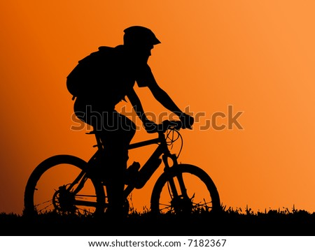 mountain biker girl silhouette - illustration - stock photo