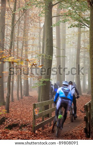 Mountain bikers, cyclist, speeding in beautifully colored, misty autumn woods filled with fog, unrecognizable by motion blur - stock photo