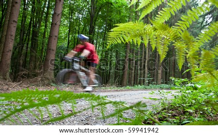 Mountain biking in a forest - biker on a forest biking trail going fast (motion blurred image) - stock photo