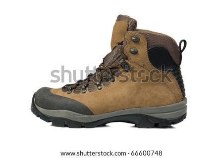 Mountain boots isolated on white background - stock photo