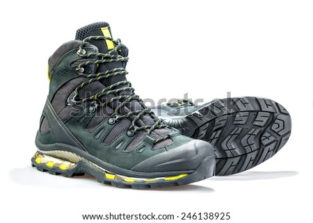 mountain boots on a white background - stock photo
