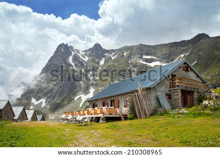 Mountain cafe in Loriaz village near from Vallorcine, France - stock photo