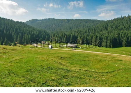 Mountain camping site - stock photo