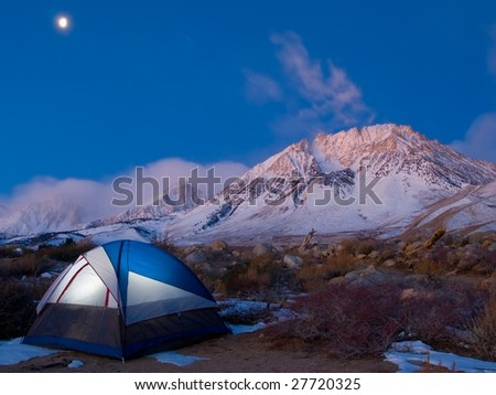 Mountain Campsite at Sunrise with Tent - stock photo