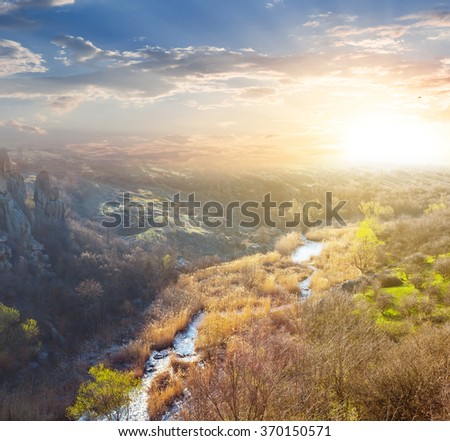 mountain canyon at the sunset - stock photo