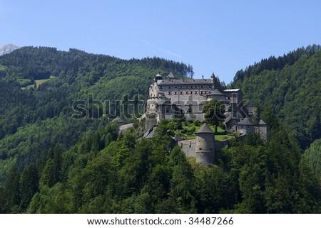 Mountain castle in Werfen - stock photo