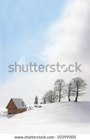 mountain chalet in winter, square frame - stock photo