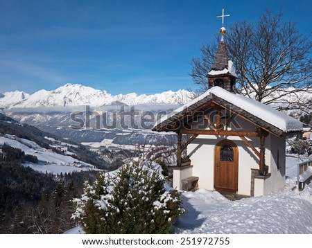Mountain chapel in the Alps with Karwendel Mountains - stock photo