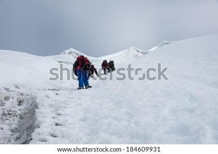 Mountain climbing, Lobuche east peak climbing, Everest region, Nepal - stock photo