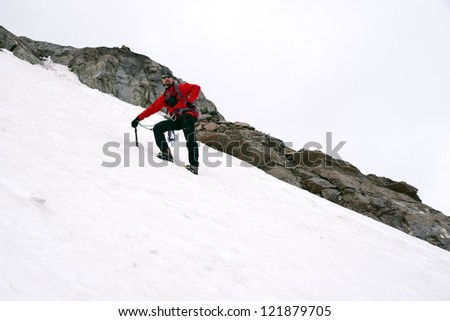 Mountain climbing on glacier in Austria - steep ascent