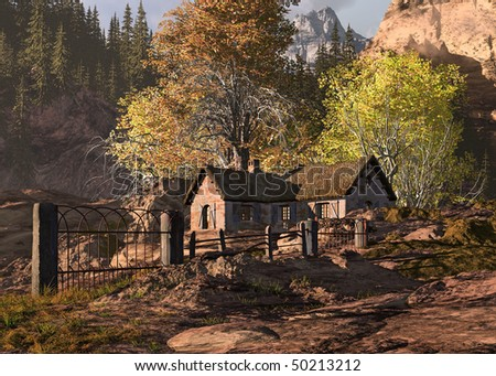 Mountain Cottage And Gate Landscape - stock photo
