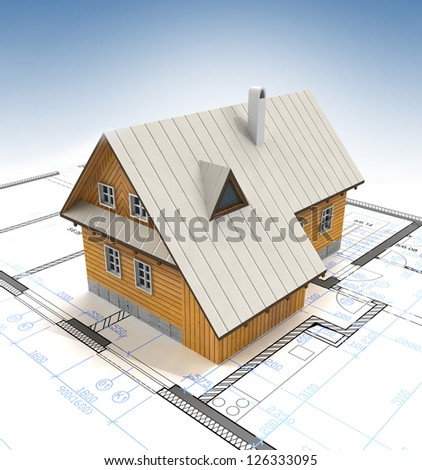 Mountain cottage building with layout plan and clear blue sky illustration - stock photo