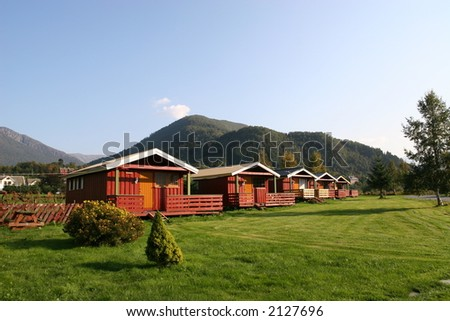 Mountain cottages - stock photo