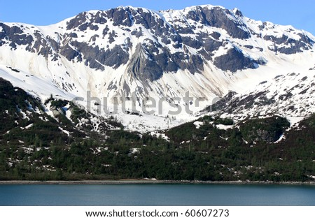 Mountain covered with snow - stock photo
