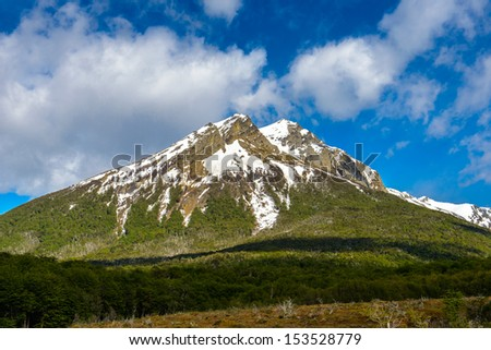 Mountain covered with snow, Argentina - stock photo