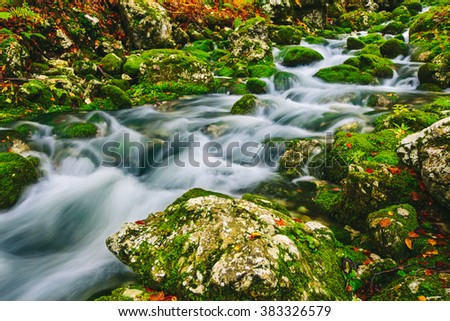 Mountain creek detail with mossy rocks and crystal clear water. Slovenia, Bohinj lake, Europe. - stock photo