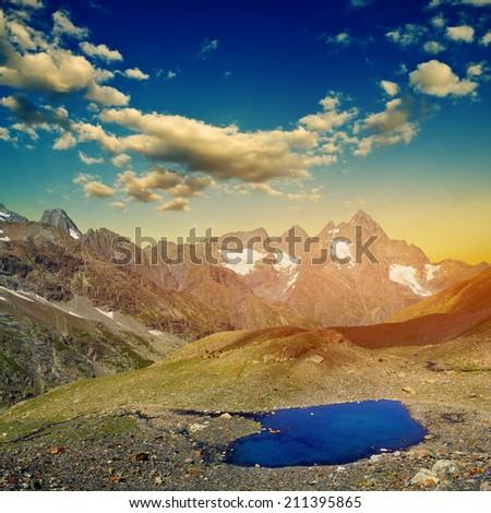 mountain dusk scene - stock photo