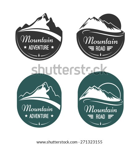 Mountain emblems labels and design elements set - stock photo