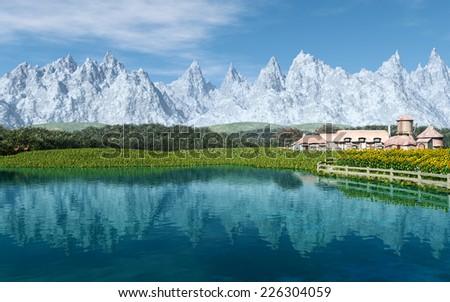 Mountain Farm - stock photo