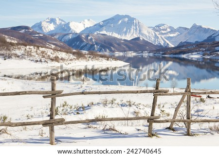 Mountain fence for livestock in Abruzzi - Italy. - stock photo