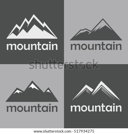 Mountain flat icons on gray background. Silhouette rock for sport logo. illustration