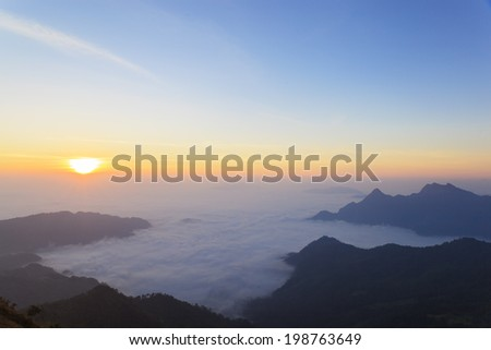 Mountain fog and mist in Thailand