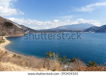 Mountain fuji and lake - stock photo
