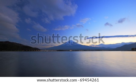 Mountain Fuji at evening - stock photo