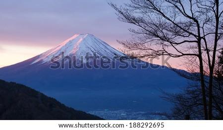 Mountain Fuji in winter morning from lake kawaguchiko  - stock photo