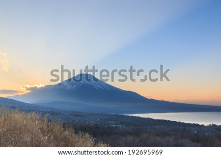 Mountain Fuji in winter morning from lake kawaguchiko, Japan.