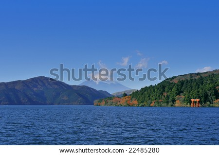 Mountain Fuji, view from Hakone - stock photo