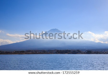 Mountain Fuji view from the lake, Japan