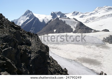 Mountain glacier. Caucasus Mountains. Digoriya