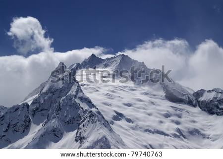 Mountain glacier. Caucasus Mountains, region Dombay. - stock photo