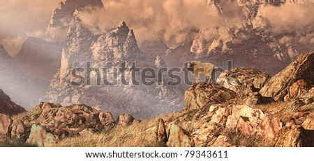 Mountain goat in a Rocky Mountain landscape. - stock photo