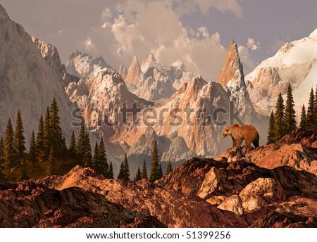 Mountain Grizzly Bear - stock photo