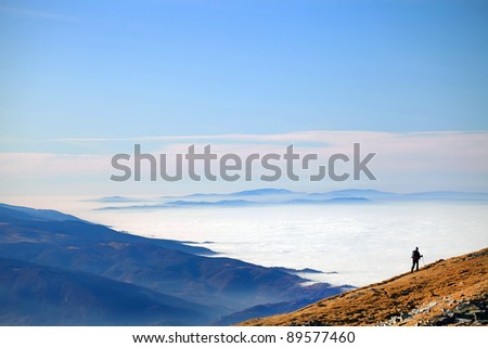 Mountain hiker - stock photo